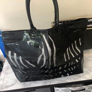 Large vinyl Zebra pattern tote